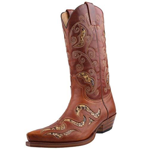 Stivali 7490 Sendra Cowboy con Roy Dunn di Colore Marrone in Pelle e Grasso per Stivali, Marrone (Marrone), 41 EU