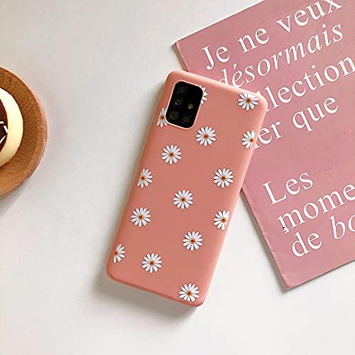 ZTOFERA Carcasa trasera de TPU para Samsung Galaxy A52, Patrón de margarita mate suave TPU Caso, Delgado Light-wight Protector Bumper Cover para Samsung A52 5G/4G - Rosa