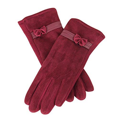Moginp 1 Paar Winter Warme Touchscreen Handschuhe Damen Fahrradhandschuhe Sporthandschuhe (Red, Freesize)