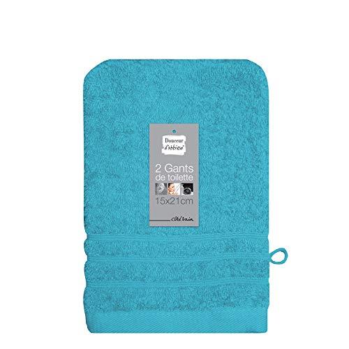 douceur d'intérieur 2 gants de toilette 15x21 cm eponge vitamine turquoise