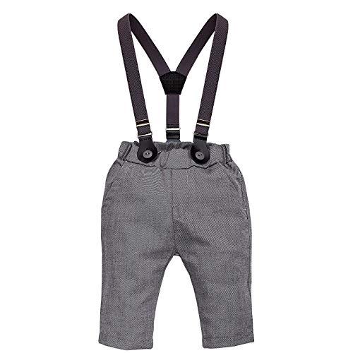 Pinokio - Prince - baby jongensbroek met bretels | bruiloft jongens Gentleman Suit - grijs - met elastische band 80,86,92,98