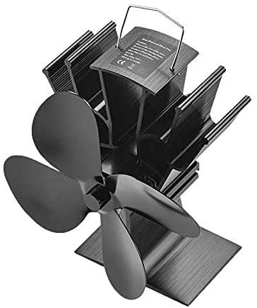 COMBIUBIU Ventilatore Del Camino A 4 Pagine, Ventilatore A Legna Legna Da Ardere Alimentato A caldo Funzionamento Silenzioso Ecologico