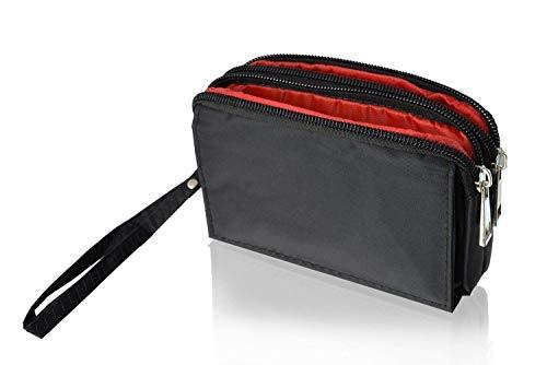 gtsk Doppel-Reissverschluss Handy Tasche geeignet für Nokia 7.2 - Tasche mit 3 Fächern, Wallet Portmonee Zipper Hülle Etui Outdoor inkl. Handgelenkband & Gürtelschlaufe