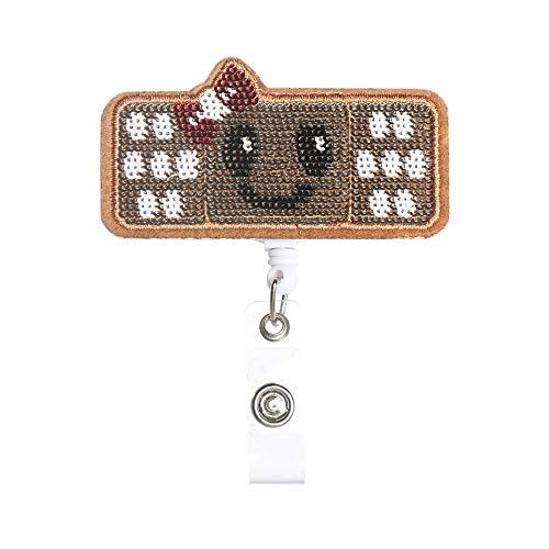 shihao159 1 st Clip Unisex ID Naam Kaart Doek briefpapier Smiley Gezicht Sleutelhanger Badge Houder Intrekbare Bandage Stijl Type1-1