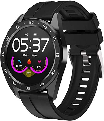 Reloj inteligente con pantalla de 1 3 pulgadas, monitor de actividad física, podómetro, pulsera con mensaje, recordatorio inteligente IP67, resistente al agua, 170 mAh-negro/silicona