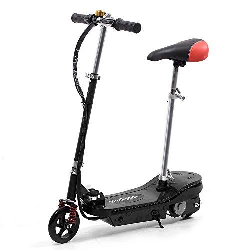 """Schwarz Faltbarer Elektroroller mit Sitz für Erwachsene Kinder Elektro Scooter mit LED Licht 150W Motor Max 12 V 4.5Ah max. Belastung 75kg 6""""Reifen Fahrt bis zu 6-12 km (Schwarz)"""