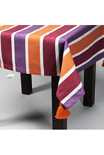 Simla Nappe Rayures 150x260 cm Pourpre, Gris, Orange