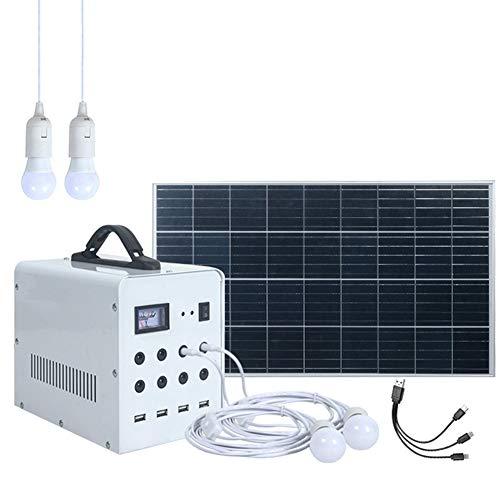 EastMetal Batería de Sistema Solar para El Hogar, Grupo Electrógeno de Sistema Pequeño con Paneles Solares 50W y 4 Luces LED, Generador de Energía Móvil 9000 Mah, para Exteriores, Camping, Emergencia
