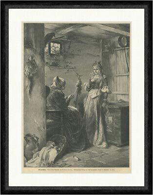 Kunstdruck Dornröschen nach einem Gemälde von Eisermann Spindel Fluch Fee Faksimile_E 25657
