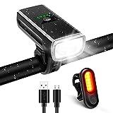 Luci Bicicletta LED, 2400 mAh Anteriore e Posteriore USB Ricaricabile e Impermeabile IP65, 1200 Lumen Luci Bici mtb per Uomini Donne, Bambini, Combinazione di Luci per Mountain Bike Impermeabili