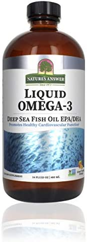 Nature's Answer Liquid Omega-3 | Deep Sea Fish Oil with EPA/DHA Dietary Supplement | Cardiovascular Support | No Preservatives & Gluten-Free 16oz (Pack of 1)