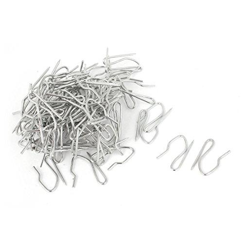 sourcing map Lot de 50 crochets argentés en métal pour bande de draperie, de rideau, crochet en forme de hameçon