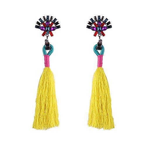 jingyuu borla baumeln Pendientes largos pendientes con borlas pendientes colgante plata infantil para la ropa un par sur 10 * 2.5cm amarillo