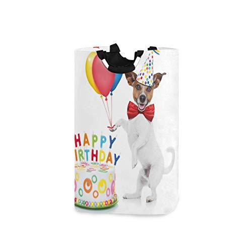COFEIYISI Wäschesammler Wäschekorb Faltbarer Aufbewahrungskorb,Geburtstagstänzer-Party-Hundekuchen-Druck,Wäschesack - Wäschekörbe - Laundry Baskets