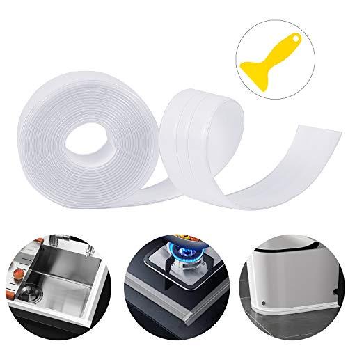 Dreetino Dichtband Selbstklebend, 3.2m PVC Wasserdicht Dichtband für Bad, Küche und Toilette mit Dichtungswerkzeug - Transparent (Doppelte Falte)