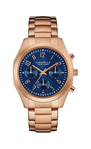 Caravelle New York Rose Gold Melissa-Reloj de Cuarzo para Mujer con Esfera Azul Cronógrafo y Pulsera de Oro Rosa 44l199