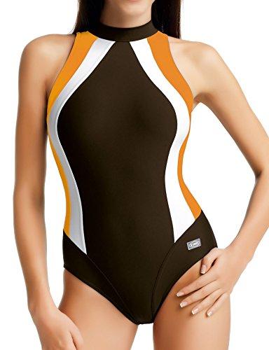 GWinner Badeanzug Olivia, Damen Gr. 42, Marron - braun/orange/weiß