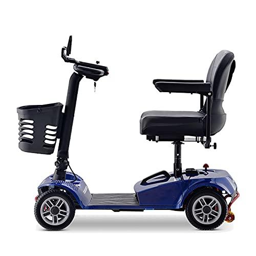HYRL Scooter de Movilidad de 4 Ruedas - Dispositivo de Silla de Ruedas móvil eléctrico con Cesta para Adultos - Plegable, Plegable y Compacto para Viajar