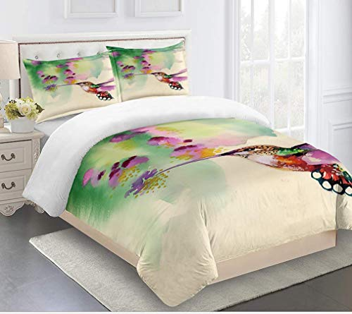 JZZCIDGa Watercolor Bird DuvetCover3-PieceBedSetBeddingSetPillowcasesDoubleHiddenZipperMicrofiberQuiltCover