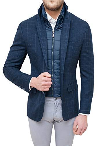 Evoga Giacca Uomo Sartoriale Blu Quadri Elegante Invernale con Gilet Interno (M)
