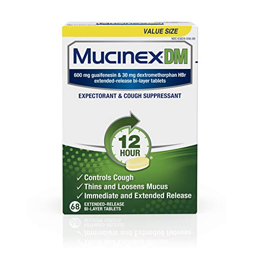 Mucinex DM 12 hour Cough and Chest Congestion Medicine -Expectorant and Cough Suppressant tablets(Lasts 12 hours/Powerful Symptom Relief/Extended-Release Bi-layer), White, 68 Count (Pack of 1)