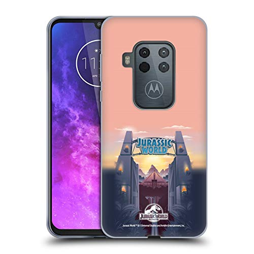 Head Case Designs Licenza Ufficiale Jurassic World Cancello del Parco Arte Vettore Cover in Morbido Gel Compatibile con Motorola One Zoom