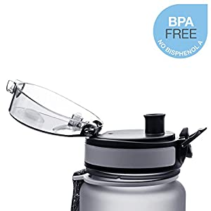 Embrava Best Sports Water Bottle - 32oz Large - Fast Flow, Flip Top Leak Proof Lid w/One Click Open - Non-Toxic BPA Free & Eco-Friendly Tritan Co-Polyester Plastic