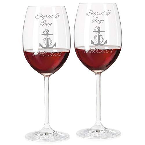 2 Rotweingläser mit Namen graviert - personalisierte Weingläser - mit individueller Wunsch-Gravur als Geschenk zur Hochzeit (Anker)