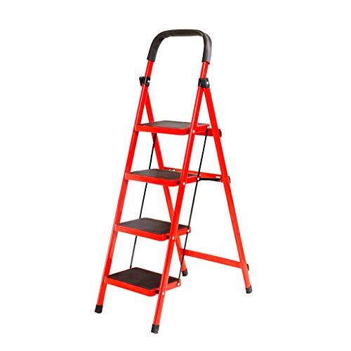 Escalera de metal rojo con ruedas, librería de tres pasos/cuatro peldaños para baño/jardín, escalera de pie unilateral, antideslizante, seguridad en espiga