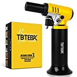 TBTEEK Kitchen Torch, One-Hand Operation Butane Torch Lighter with Gas Gauge, Adjustable Flame for BBQ, Baking, Brulee Creme, Crafts and Soldering(Butane Gas Not Included)