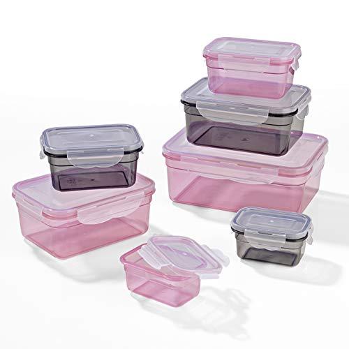 GOURMETmaxx Frischhaltedosen Klick-it 14 tlg. | Spülmaschinen- Mikrowellen- und Gefrierschrankgeeignet | Deckel BPA-frei mit 4-fach-Klick-Verschluss | Ineinander stapelbar [4 Größen, grau und rosa]
