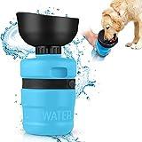 MIFIRE Botella de Agua para Perros Pasear, dispensador Plegable de Agua para Mascotas con ON/Off Tazón de la Taza a Prueba de Fugas, Libre de BPA Botella de Agua de Viaje para al Aire Libre 18oz