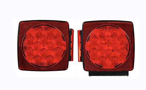 MAXXHAUL 50343 12V LED Submersible Left and Right Trailer Lights for Trailers Less than 80