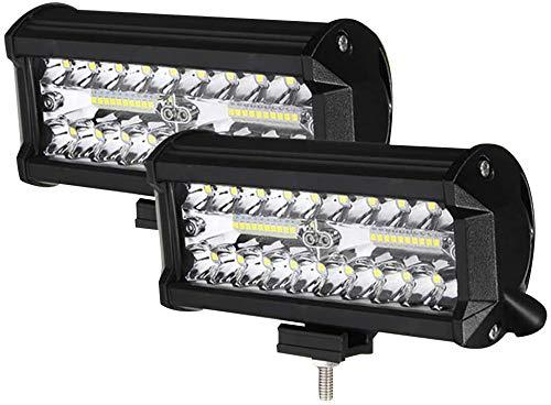 Faro Trabajo LED Focos de Coche 24000LM 6000K Barra LED 12V-24V y IP68 para Coche,SUV, UTV, ATV, Camión,Moto,Barco (7 Pulgada(2PCS))