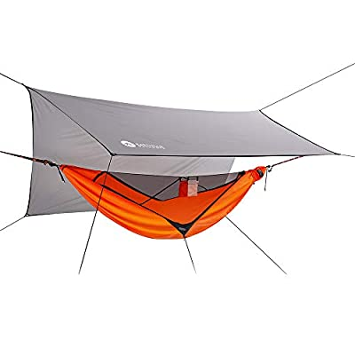 Easthills Outdoors Skyloft Single Asymmetrical Camping Hammock with Mosquito/Bug Net, 10ft Tree Straps and Rainfly Trap for Camping, Backpacking, Travel Orange