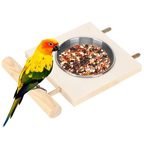 Borlai Papageienfütterungsschale Edelstahl-Futterwasser-Futterkäfig mit Ständer für Vogelpapagei