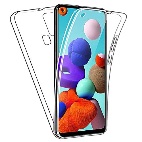 TBOC Funda Compatible con Samsung Galaxy A21s [6.5'] - Carcasa [Transparente] Completa [Silicona TPU] Doble Cara [360 Grados] Protección Integral Delantera Trasera Lateral Móvil