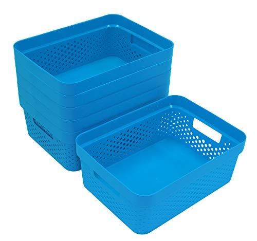 Glad - Juego de 6 cestas de plástico Abiertas para estantes, baño, despensa, Armario, Cajas organizadoras con Asas, 2 galones, Color...