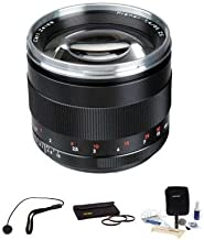 Zeiss 85mm f/1.4 Planar T ZE Series Lens Kit, for Canon EOS Cameras with Tiffen 72mm Photo Essentials Filter Kit, Lens Cap Leash, Professional Lens Cleaning Kit,