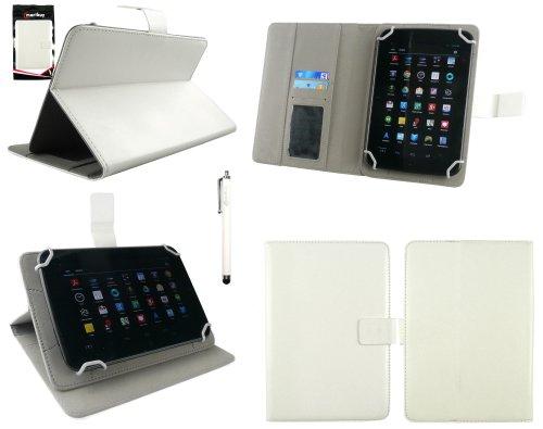Emartbuy® BTC Flame 7 Inch Tablet PC Universal Serie Blanco Cubierta de la Caja de la Carpeta Multi Angle Ejecutivo Folio con Ranuras para Tarjetas + Blanco Lápiz Óptico