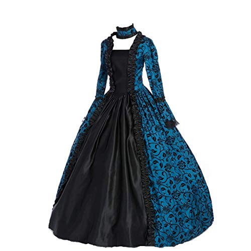 CountryWomen Renaissance Gothic Dark Queen Dress Ball Gown Steampunk Vampire Halloween Costume (3XL, Blue and Black)