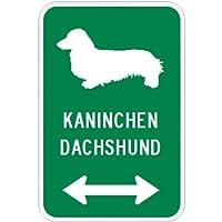 KANINCHEN DACHSHUND マグネットサイン グリーン:カニヘンダックスフンド(小) シルエットイラスト&矢印 英語標識デザイン Water