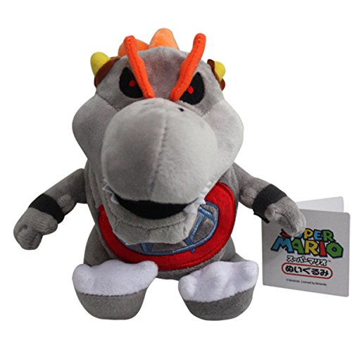 Baby Dry Bowser Bones Koopa Super Mario Bros Plush Toy Stuffed Animal Grey with a Free Badge As Gift 7
