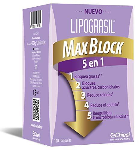 Chiesi Lipograsil Max Block 5 en 1, Control de Peso, Cumple la Normativa Vigente de Ps, 120 Cápsulas
