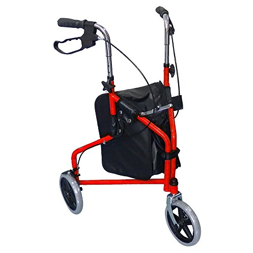 3 Wheel Rollator Walker with Ergonomic Hand Grips, Locking Brakes, Adjustable Handle Height, Lightweight Aluminum Frame - Metallic Burgundy- by Bodyhealt