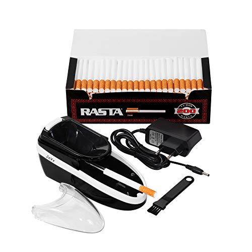 JeVx Maquina Liadora de Tabaco + 200 Tubos con Filtro RASTA - Entubador Electrico para LLenado de Cigarros Entubar Cigarrillos de Fumar Entubadora Electrica para Liar Negro