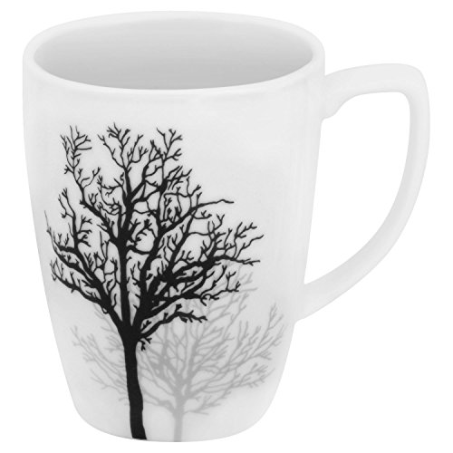 Corelle Square 12-oz Porcelain Mug, Timber Shadows (SET OF 4)