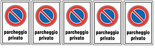 5 X CARTELLO IN PLASTICA DIVIETO DI SOSTA PARCHEGGIO PRIVATO
