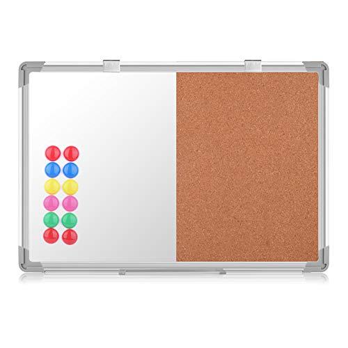 S SIENOC Whiteboard Kombinations notizbrett Pinnwand Magnetwand mit Alurahmen Magnetisch Whiteboard und Magnettafel Weiß lackiert 70x50cm
