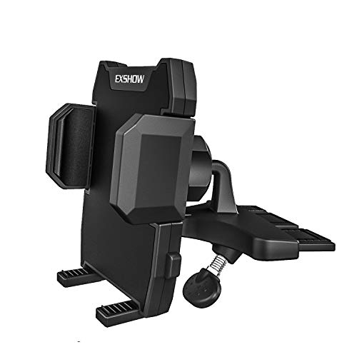 EXSHOW Phone Holder for Car CD Slot, One-Hand-Available CD Player Cell Phone Mount for iPhone 11 Pro Max 11 XR XS 8 Plus 7 6S SE, Samsung S10+ S10e S10 S9 N9 S8 Note10 10+ Plus, Google, LG, Moto etc